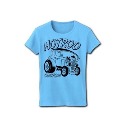 HOT ROD CUSTOM CAR リブクルーネックTシャツ(ライトブルー)
