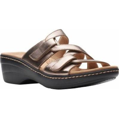 クラークス レディース サンダル シューズ Women's Clarks Merliah Karli Wedge Slide Metallic Leather