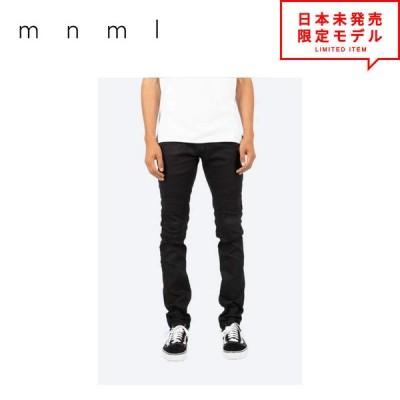 日本未発売 mnml ミニマル デニムパンツ M14 Stretch Denim マットブラック 裾ジップ バイカー デニム パンツ ジーパン メンズ US限定 正規品