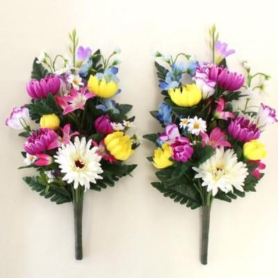 仏花 造花 グラジオラスと菊の花束一対 お墓用 お仏壇 CT触媒 お盆 お供え