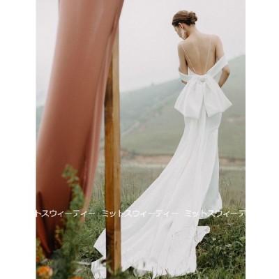 ウエディングドレス ロングドレス 二次会 花嫁 パーティドレス 結婚式 バックリボン ウェディグドレス ビーチフォト リゾートウエディング 前撮り バックレス