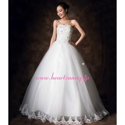 ウェディングドレス ビーズ飾りハートネックビスチェ 編み上げ 花柄レース裾 E189