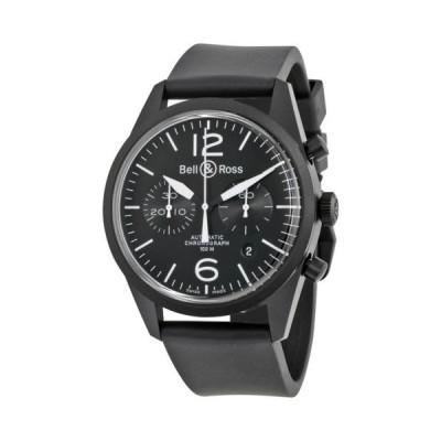 腕時計 ベルアンドロス Bell and Ross ビンテージ Original オートマチック クロノグラフ ブラック ダイヤル ブラック ラバー