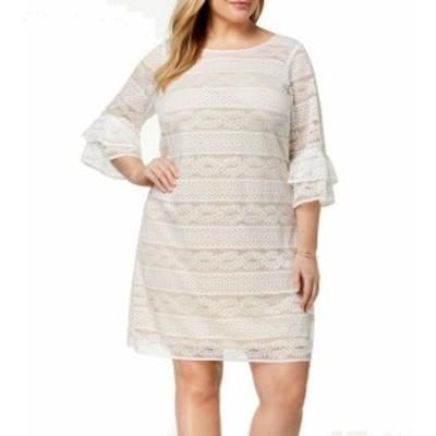 Jessica Howard ジェシカハワード ファッション ドレス Jessica Howard NEW White Ivory Womens 16W Plus Lace Tiered Shift Dress