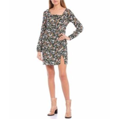 オニール レディース ワンピース トップス Square-Neck Cassidy Floral Print Short Dress Black