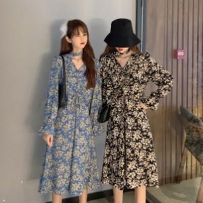2020AW レディース ワンピース ミモレ丈 Vネック 花柄 2色 オルチャン 韓国ファッション プチプラ TA12013