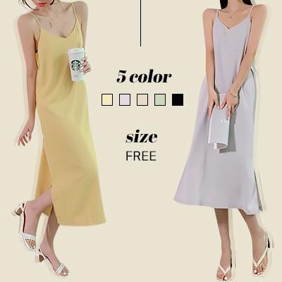 DRESSCAFE[韓国ファッション] Limited item! 5color サテンシルクスリップワンピース