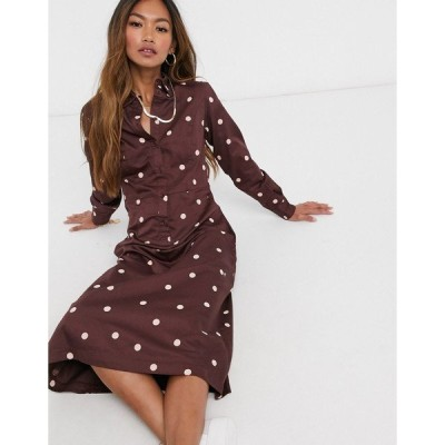 ピープル・ツリー レディース ワンピース トップス People Tree organic cotton maxi shirt dress in polkadot print Brown