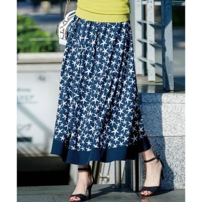 スカート プリント柄フレアースカート