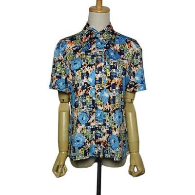 半袖 花柄シャツ レトロシャツ レディース XLサイズ位 ヨーロッパ 古着