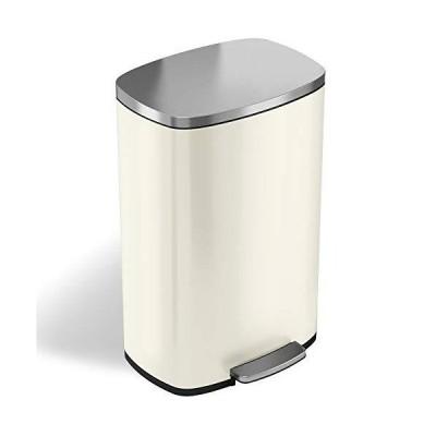 iTouchless SoftStep 13.2ガロン アイボリースチールステップゴミ箱 臭気コントロールシステム付き 50リットル ペダルゴミ箱 キ