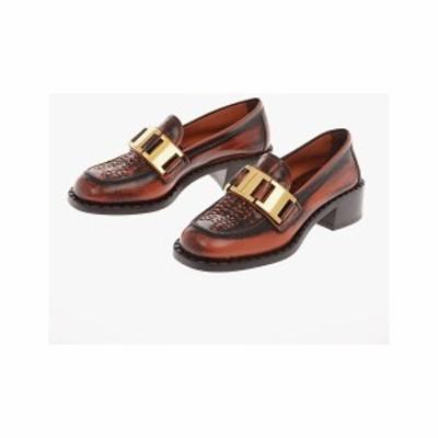 PRADA/プラダ Brown レディース Leather Bit Loafers with Heel 4 Cm dk