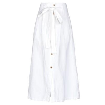 アティックアンドバーン ATTIC AND BARN 7分丈スカート ホワイト 40 麻 58% / コットン 42% 7分丈スカート
