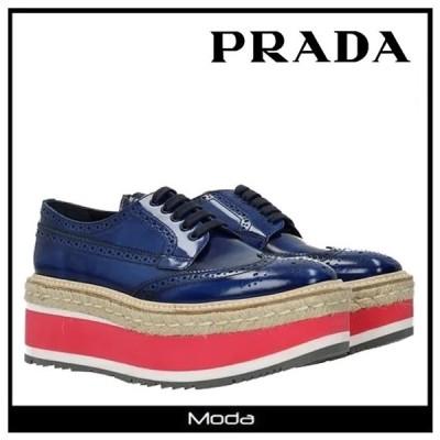 プラダ 厚底 レディース PRADA 靴 ネイビー ピンク レースアップシューズ