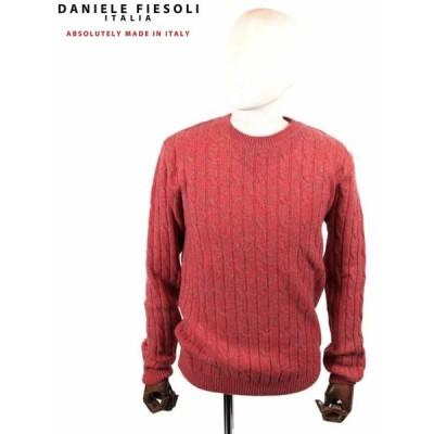 【国内正規品】DANIELE FIESOLI ダニエレフィエゾーリ ケーブル編み カシミアクルーネックニット WS3141 RED レッド