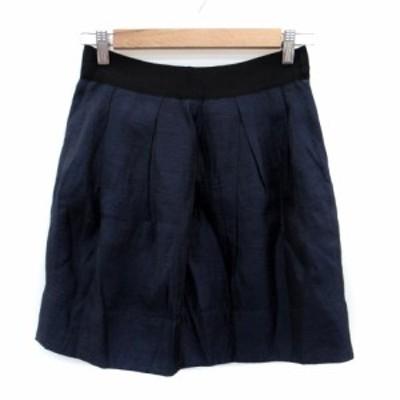 【中古】マカフィー MACPHEE トゥモローランド スカート ギャザー ミニ丈 36 紺 ネイビー 黒 ブラック レディース
