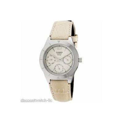 カシオ 腕時計  Casio LTP2069L-7A1 レディース Beige Genuine レザー ドレス 腕時計 50M シルバー ダイヤル
