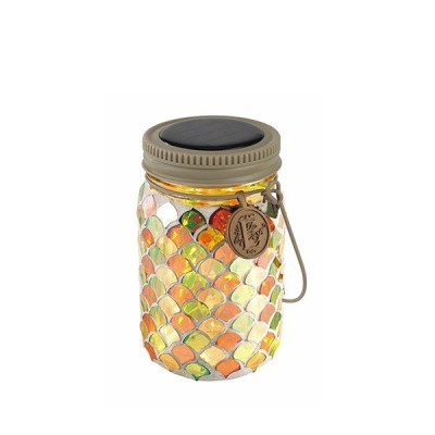 キシマ ボトル型ソーラーガーデンライト エトワル 瓶型 モザイクガラスタイプ シトラスナッツ CitruSNut 屋外用 ソーラー充電 ガラス ジャー 照明 KL-10354