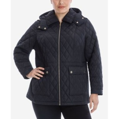マイケルコース レディース コート アウター Plus Size Hooded Quilted Coat Black
