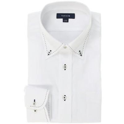 形態安定レギュラーフィット ボタンダウンハンドステッチ長袖ビジネスドレスシャツ/ワイシャツ