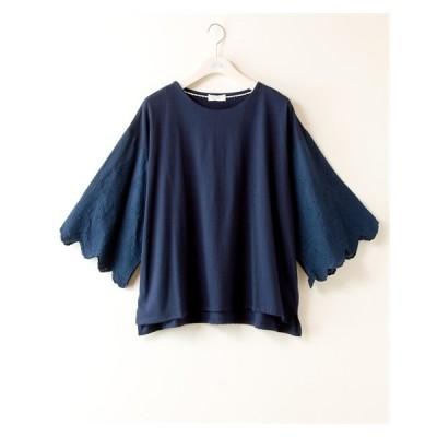 Tシャツ カットソー 大きいサイズ レディース 袖異素材切替 no jean LL/3L ニッセン nissen