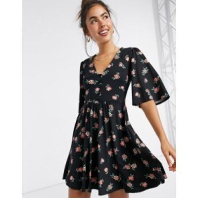 エイソス レディース ワンピース トップス ASOS DESIGN mini swing dress in black floral print Black based floral