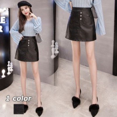 レザースカート タイトスカート タイトレザースカート ハイウエストスカート スカート ショート丈 ポケット付き ファッション
