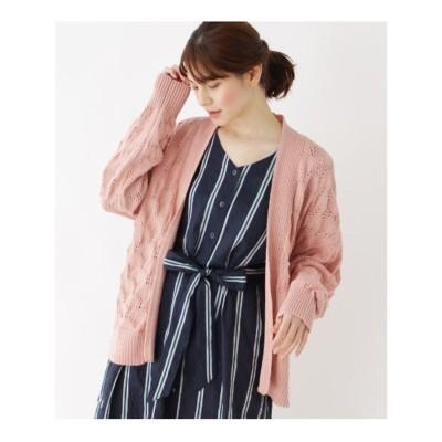 シューラルー SHOO-LA-RUE 【フリーサイズ】リボン使い透かし編みニットカーディガン (ピンク)