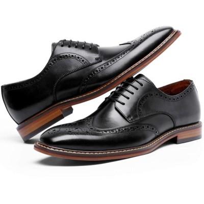 フォクスセンス ビジネスシューズ 本革 革靴 紳士靴 ウイングチップ メンズ 外羽根 ドレスシューズ ブラック 26.0CM DS6737-
