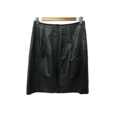 【中古】シップス SHIPS スカート 台形 ひざ丈 タック 光沢 38 グレー レディース 【ベクトル 古着】