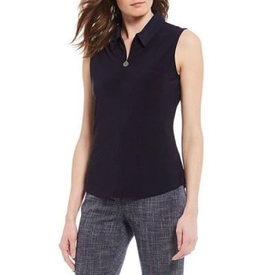 トミー ヒルフィガー レディース Tシャツ トップス Matte Knit Jersey Quarter Zip Sleeveless Top