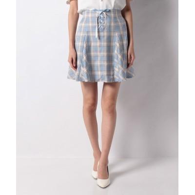 【シークレットハニー】 マチフレアーレースアップスカート レディース ブルー 2(M) Secret Honey