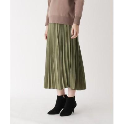 CORDIER(コルディア) ウエストゴムミモレ丈プリーツスカート