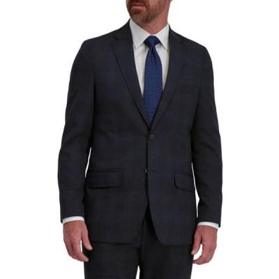 ハガー メンズ ジャケット・ブルゾン アウター Men's Signature Plaid Tailored Fit Two Button Flap Pocket Suit Separate Coat