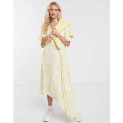 ノートデュノール Notes Du Nord レディース ワンピース ミドル丈 Orchid Recycled Polyester Floral Asymmetric Midi Dress In Lemon Flower
