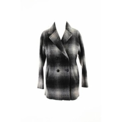 Plaid  ファッション 衣類 Wildflower Black White Double-Breasted Plaid Peacoat XS
