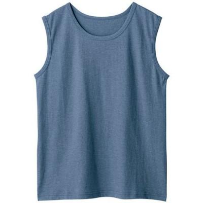 型崩れしにくいSZTシャツ スリーブレス/ネイビーブルー(杢)/3L