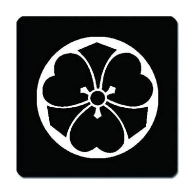 家紋 捺印マット 石持ち地抜き剣片喰紋 11cm x 11cm KN11-2004W 白紋