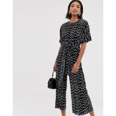 エイソス レディース ワンピース トップス ASOS DESIGN plisse tie front jumpsuit in polka dot  Spot