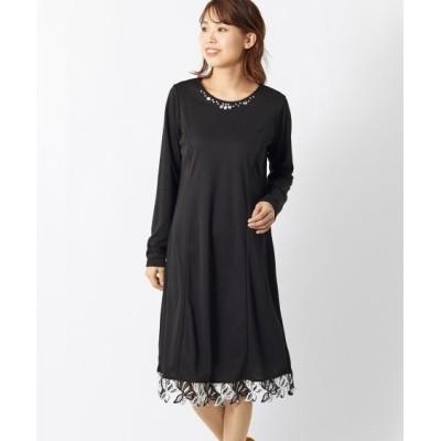 大きいサイズ ビジュー付裾レース切替カットソーワンピース(オトナスマイル) ,スマイルランド, ワンピース, plus size dress