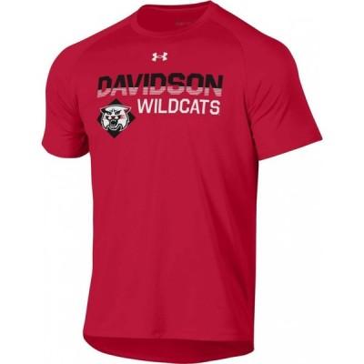 アンダーアーマー Under Armour メンズ Tシャツ トップス Davidson Wildcats Red Tech Performance T-Shirt