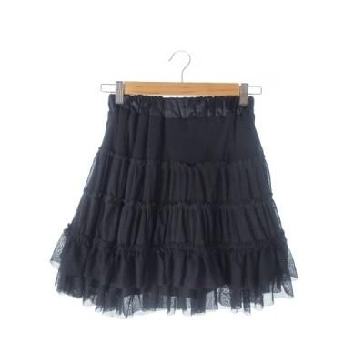 【中古】オリーブ デ オリーブ OLIVE des OLIVE スカート フレア ミニ チュール フリル 黒 ブラック /AO14 ☆ レディース 【ベクトル 古着】