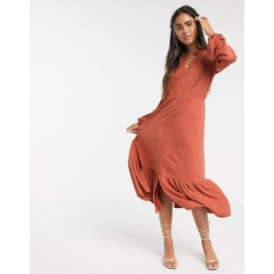 ワイエーエス レディース ワンピース トップス Y.A.S v neck button down midi dress with peplum hem in orange