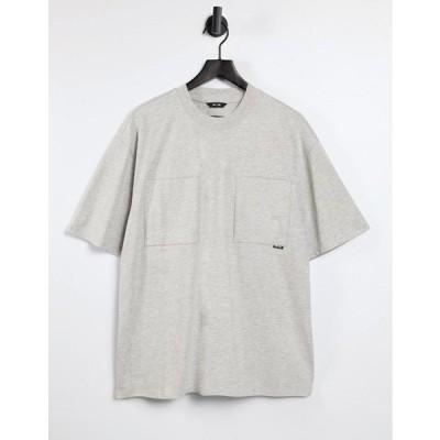 オンリーアンドサンズ 半袖Tシャツ メンズ Only & Sons oversized double pocket t-shirt in grey エイソス ASOS