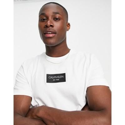 カルバンクライン メンズ シャツ トップス Calvin Klein chest box logo t-shirt in white