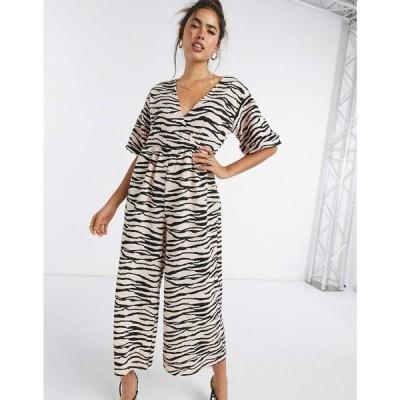 エイソス ASOS DESIGN レディース オールインワン ジャンプスーツ ワンピース・ドレス jersey wrap smock textured jumpsuit in animal print