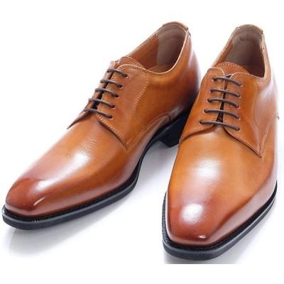 [北嶋製靴工業所] シークレットシューズ ビジネス メンズ 6cm 外羽根 プレーン 牛革 日本製 紐 革靴 冠婚葬祭 就活 1931 キャメル 23