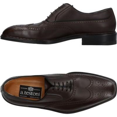 ア テストーニ A.TESTONI メンズ シューズ・靴 laced shoes Dark brown