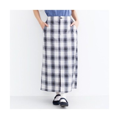【見切り商品】39プライス スカート ロングスカート 春夏 S/S コットン100%チェック柄フロントスリット台形スカート