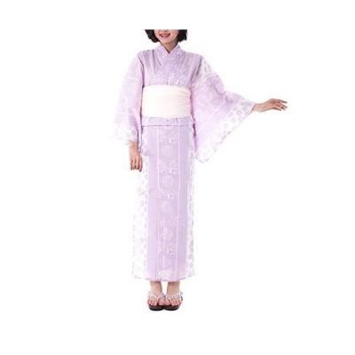 [キョウエツ] 浴衣セット 綿麻 fy26 4点セット(綿麻浴衣、半幅帯、下駄、浴衣肌着) レディース (TL, FM-7(兵児帯 ホワイト